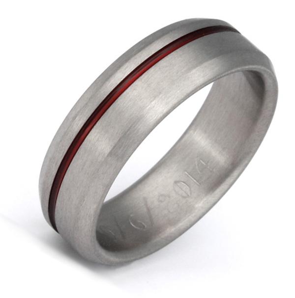 Beveled Red Titanium Wedding Band Ring