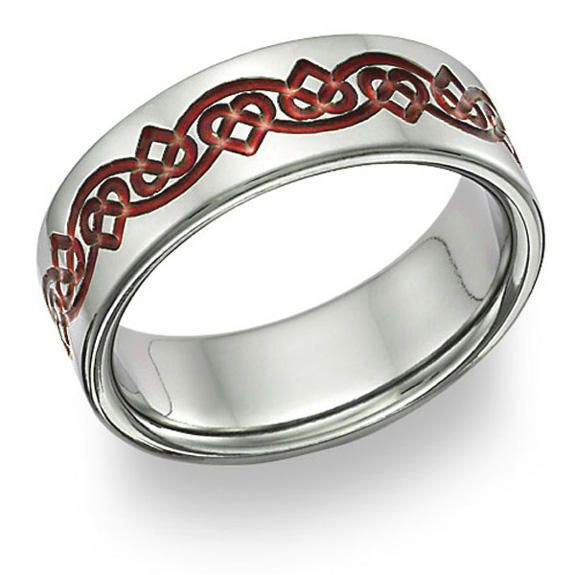 Titanium Celtic Heart Wedding Band Ring in Red