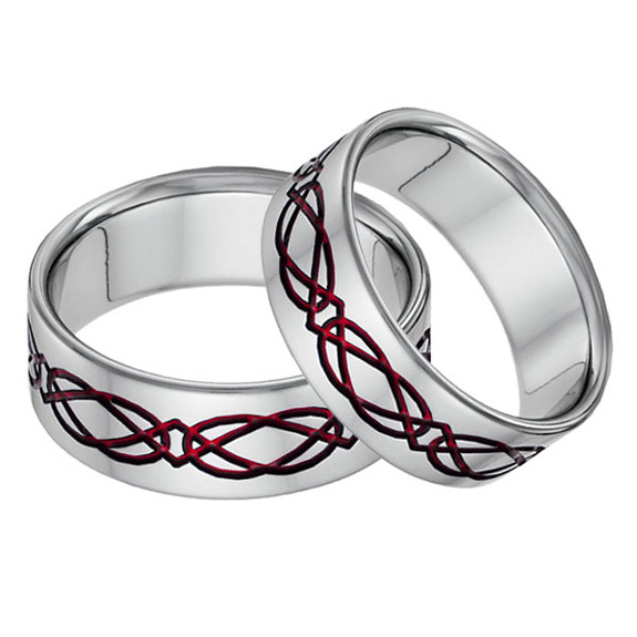 Titanium Celtic Wedding Band Set in Red