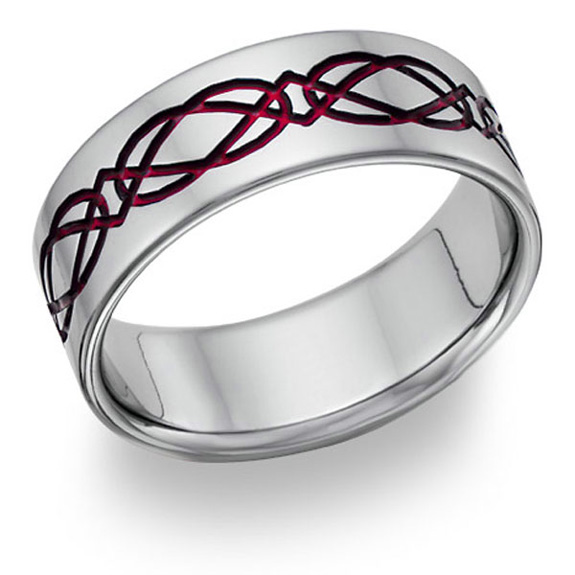Titanium Celtic Wedding Band Ring in Red