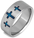 Blue Cross Titanium Wedding Band Ring