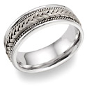 Titanium and 14K White Gold Braided Wedding Band