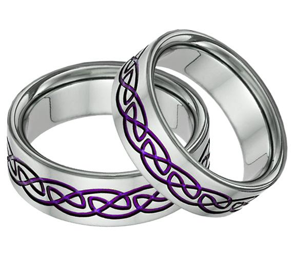 Purple Titanium Celtic Knot Wedding Band Set