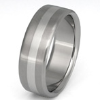 Titanium with Platinum Inlay Wedding Band Ring