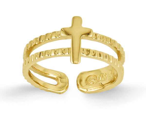 At the Foot of the Cross Toe Ring, 14K Gold