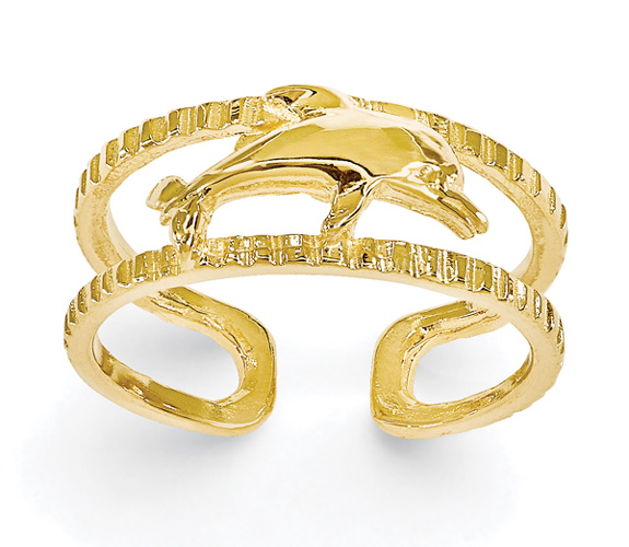 14K Gold Textured Dolphin Toe Ring