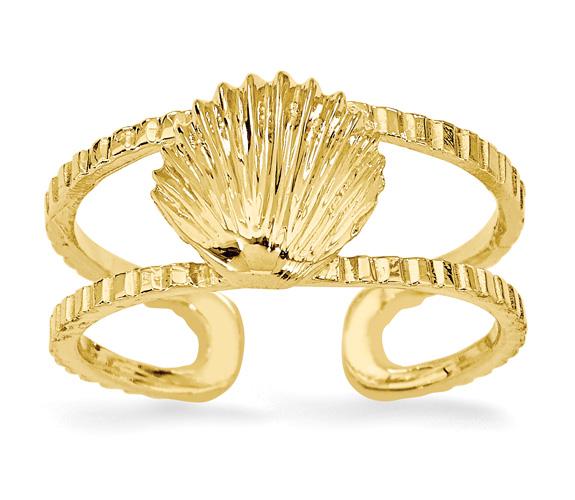 14K Gold Seashell Toe Ring