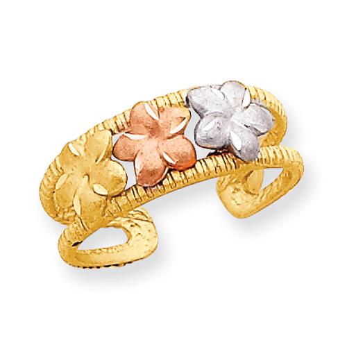 14K Tri-Color Gold Flower Ring