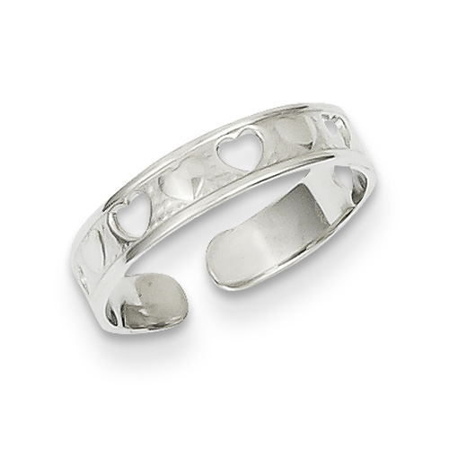 14K White Gold Hearts Toe Ring