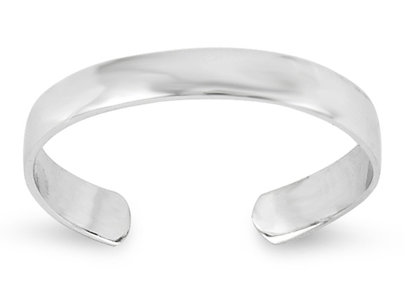 14K White Gold Plain Toe Ring