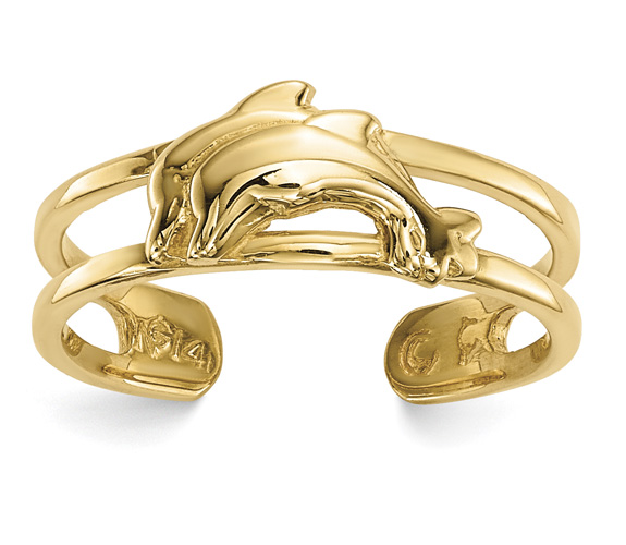 2 Dolphins Toe Ring, 14K Gold
