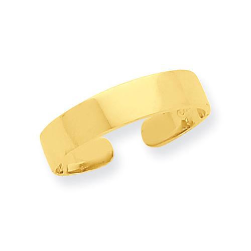Adjustable Flat Band Toe Ring, 14K Gold