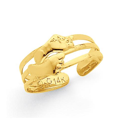 Bare Feet Toe Ring, 14K Yellow Gold