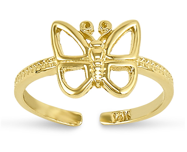 Butterfly Toe Ring, 14K Gold