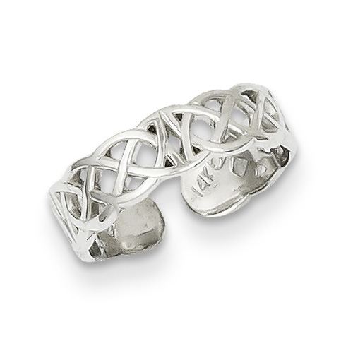 Celtic Knot Toe Ring, 14K White Gold