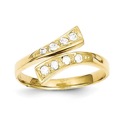 CZ Toe Ring in 10K Gold