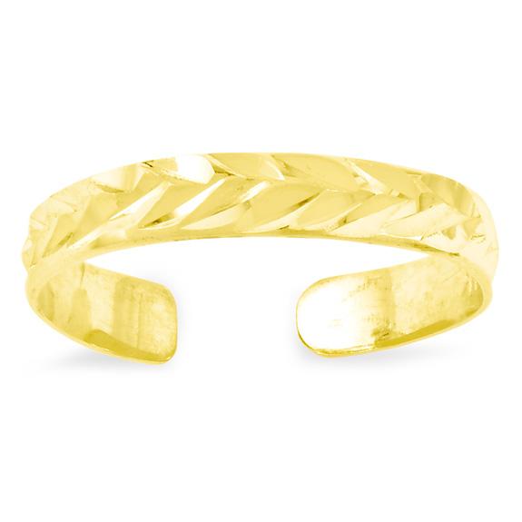 Diamond-Cut Leaf Design Toe Ring in 14K Gold