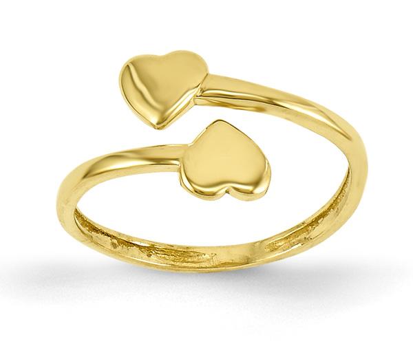 Double Heart Toe Ring in 14K Gold