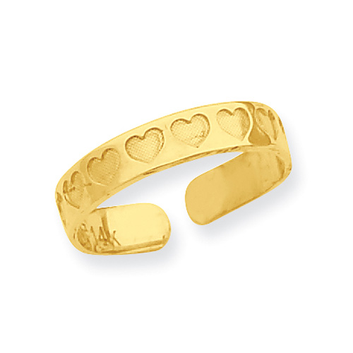 Indented Heart Toe Ring, 14K Gold
