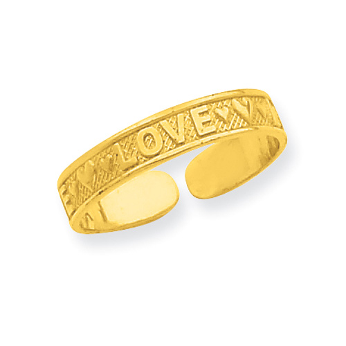 Love Heart Toe Ring, 14K Gold