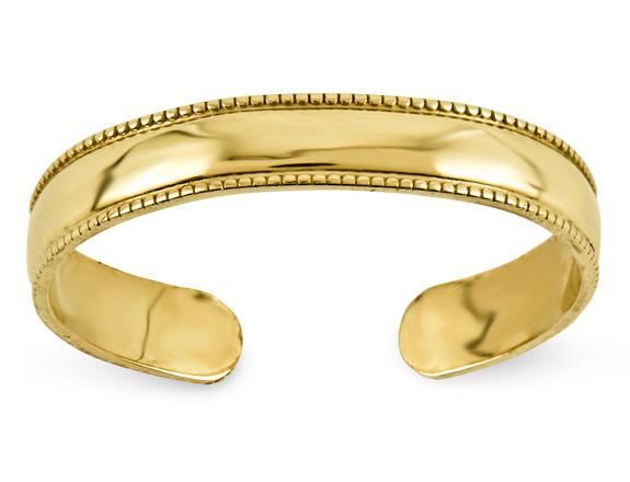 Milgrain 14K Gold Toe Ring