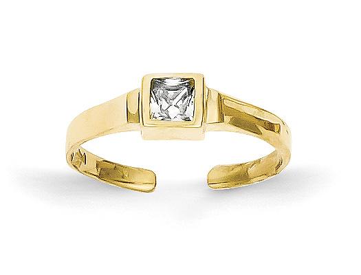 Princess-Cut CZ Toe Ring, 10K Gold