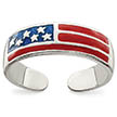 Red White and Blue American Flag Toe Ring, Sterling Silver
