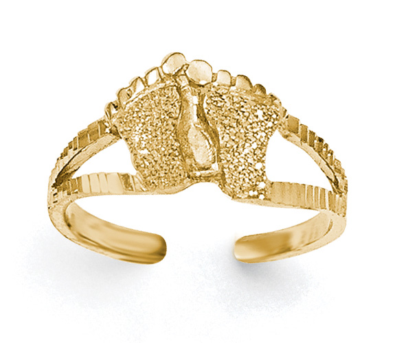 Sand Blasted Footprint Toe Ring, 14K Gold