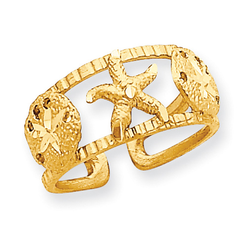 Starfish Toe Ring, 14K Gold