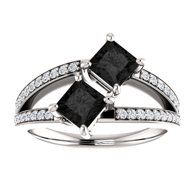 1 Carat Princess Cut Black Diamond Two Stone Engagement Ring in 14K White Gold