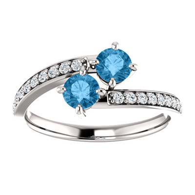 14K White Gold 2 Stone Blue Topaz Ring