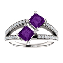 4.5mm Princess Cut Amethyst Two Stone Ring in Sterling Silver