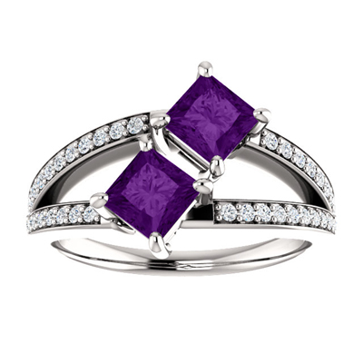 4.5mm Princess Cut Amethyst Two Stone Ring in 14K White Gold