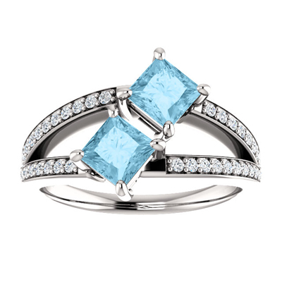 4.5mm Princess Cut Aquamarine and CZ 2 Stone Ring in Sterling Silver