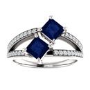 4.5mm Princess Cut Sapphire and Diamond