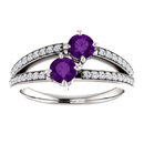 4mm Round Amethyst Two Stone
