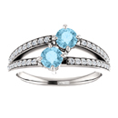 4mm Round Aquamarine and CZ 2 Stone Ring in Sterling Silver