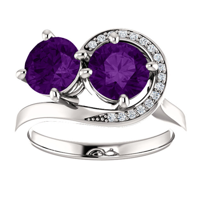 Amethyst and CZ Swirl Design