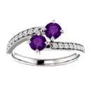 Amethyst Two Stone Ring with CZ Accents in Sterling Silver