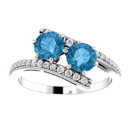 Blue Topaz 2 Stone and Diamond Ring in 14K White Gold