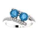 Blue Topaz 2 Stone and Diamond Ring in 14K White Gold