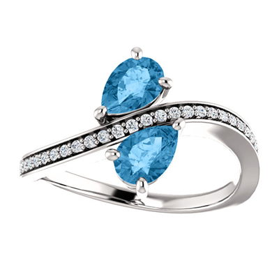 Pear Cut Blue Topaz and CZ 2 Stone Ring, Sterling Silver
