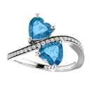 Blue Topaz Heart Cut Two Stone Ring in Sterling Silver