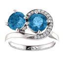Blue Topaz and CZ Two Stone