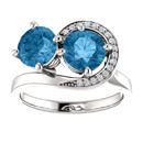 Blue Topaz and CZ Two Stone