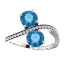 Blue Topaz and CZ Two Stone Ring in Sterling Silver