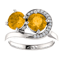 Citrine and Diamond Swirl Design 2 Stone Ring in 14K White Gold