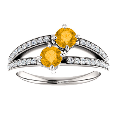 4mm Citrine and Diamond Two Stone Ring in 14K White Gold