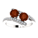 Garnet Two Stone Ring with Diamond Accents in 14K White Gold