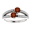 4mm Garnet Two Stone Ring with CZ Accents in Sterling Silver